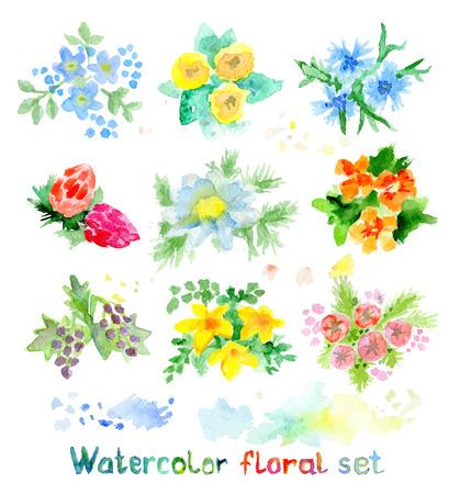 bridal: Watercolor floral vector set of small flowers, bright aquarelle elements Illustration