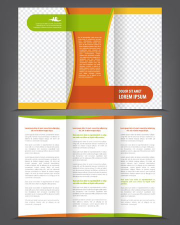 Vector empty trifold brochure template design with green and orange elements