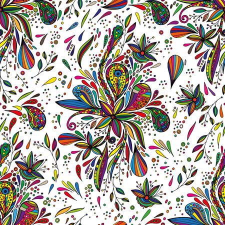 nature vector: Vector seamless bright ethnic endless pattern, floral colored ornament, fashion fabric doodles Illustration