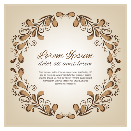 Pencil drawing vector wreath with brown branches leaves invite, save the date card ink invitation Illustration