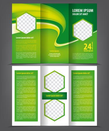 threefold: Vector empty trifold brochure print template eco design