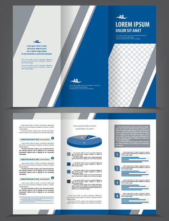 print template: Vector empty trifold brochure print template design with blue and gray elements