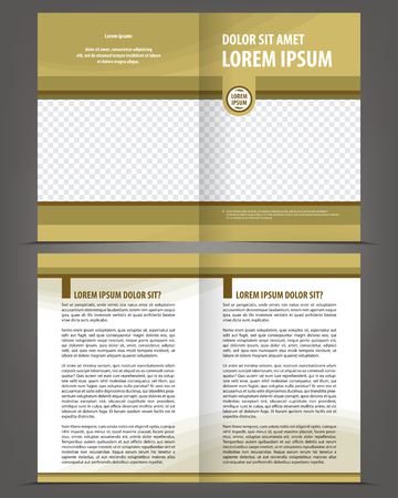 book pages: Vector empty bi-fold brochure print template design