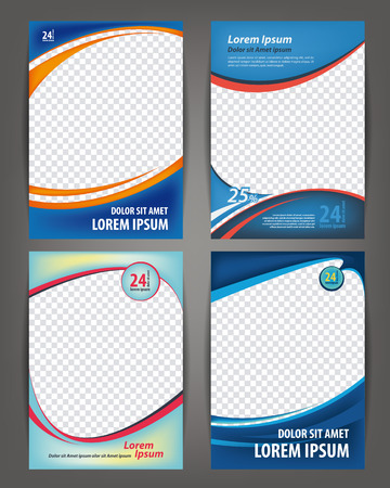 Magazine, flayer, brochure and cover layout design print template, set of 4 vector Illustrations 일러스트
