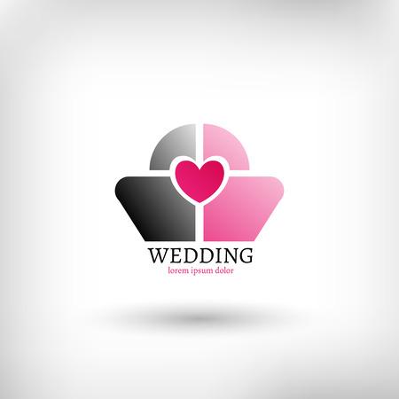 Vector wedding logo design template, marriage symbol