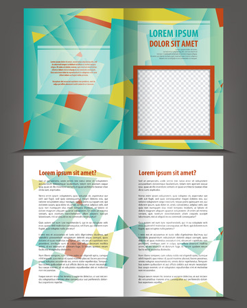 bifold: Vector empty bifold brochure print template design with dark and bright elements Illustration