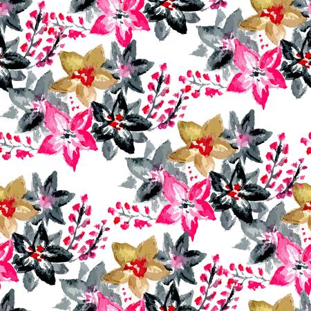 impresión: Vector acuarela patrón transparente brillante flor, ornamento floral rama de la primavera, impresión de la moda para la tela, pequeña acuarela lápiz dibujo flores