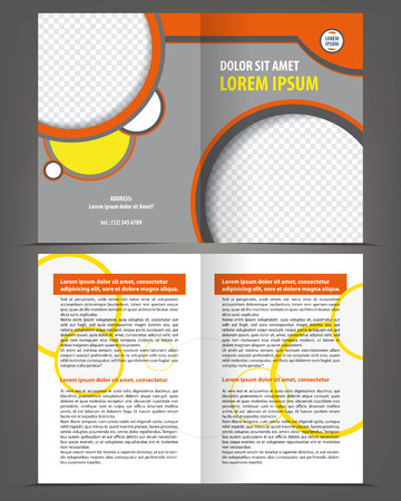 bifold: Vector empty bifold brochure template design with orange and gray elements Illustration