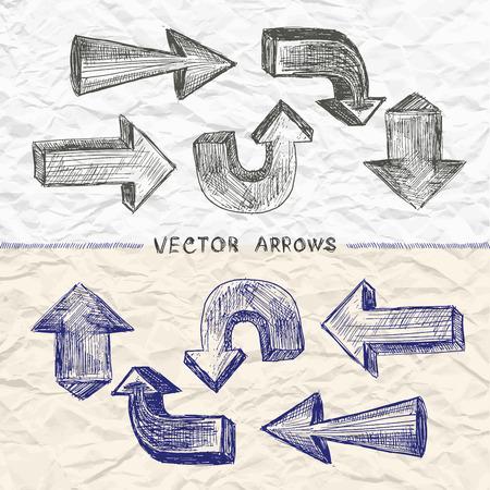 ink sketch: Hand drawn sketch arrows collection, vector ink set
