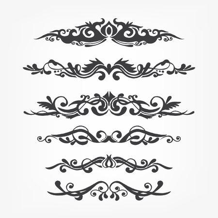penmanship: Vector calligraphy page decoration, calligraphic swirls and twirls elements for design