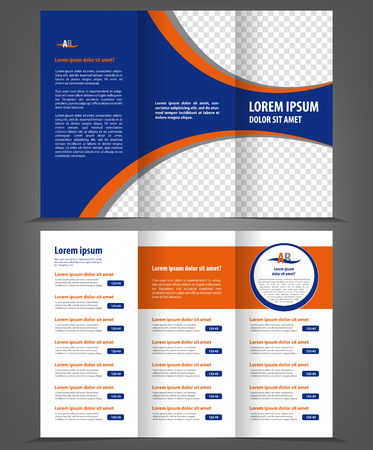Vector empty trifold brochure print template design with blue elements
