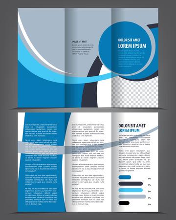Vecteur vide tri-fold conception de modèle brochure d'impression, trifold livret ou un dépliant bleu vif Banque d'images - 46601449