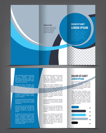 Vector empty tri-fold brochure print template design, trifold bright blue booklet or flyer