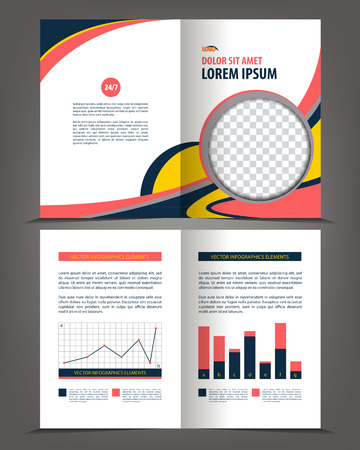 print template: Vector empty bi-fold brochure print template design, booklet layout Illustration