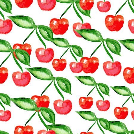 abloom: Vector watercolor seamless bright cherry pattern, berry summer ornament, fashion print for fabric, watercolor pencil drawing