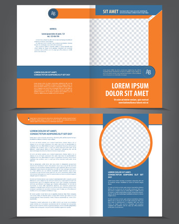 open magazine: Vector empty bifold brochure template design with orange and dark blue elements
