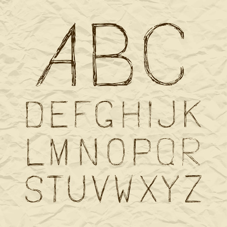 hand torn: Retro old vintage hand drawn sketch vector alphabet, font on torn paper, uppercase brown type letters