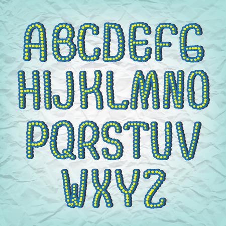 font design: Hand drawing sketch vector alphabet, cartoon handwritten font. Uppercase type letters
