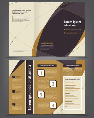 3 つ折りビジネス パンフレット テンプレート  イラスト・ベクター素材