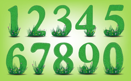 verdant: Set of numbers with grass and flowers. environmental protection