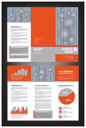 threefold: Bright orange trifold brochure Illustration