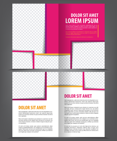 print template: Vector empty bi-fold brochure print template design with violet elements Illustration