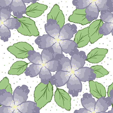 romantically: Seamless pattern with decorative flowers on white background
