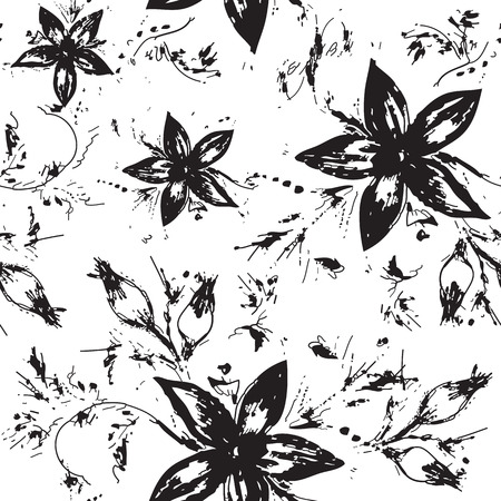 decorative patterns: Vector seamless floral monochrome background Illustration