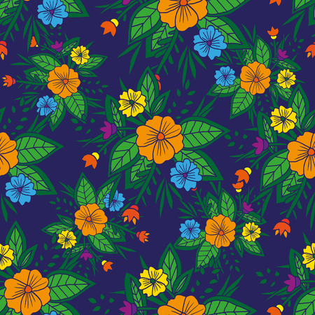 ethnical: Vector seamless bright ethnic endless pattern, floral ethnical ornament, fashion dark blue fabric pattern Illustration