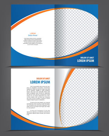 bifold: Vector empty bi-fold brochure print template design with blue and orange elements