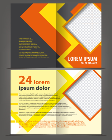 bifold: Vector empty bi-fold brochure template design with orange and gray elements