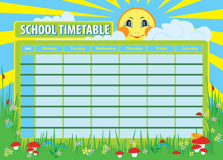 timetable: School timetable. Vector background