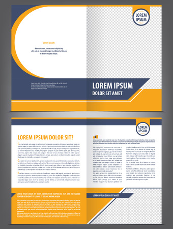 Vector empty brochure template design with orange and dark blue elements Çizim
