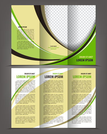 Vector empty tri-fold brochure print template design, trifold bright booklet or flayer