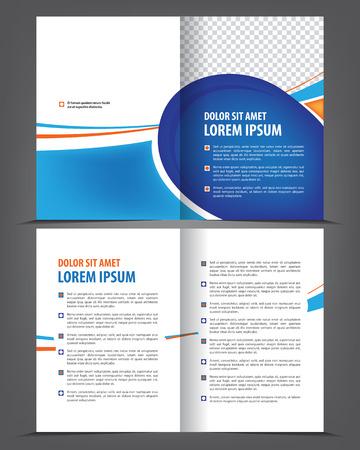 flayer: Vector empty bi-fold brochure print template blue design, booklet layout Illustration
