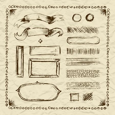 rayures vintage: Set of vector stylized graphic sketch symbols freehand elements, retro old vintage stripes nameplates on torn beige paper