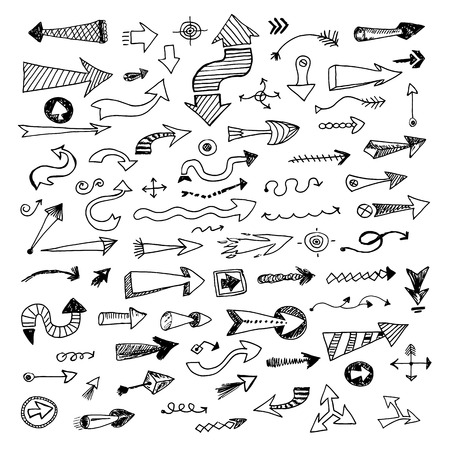 right path: Hand drawn sketch arrows collection, vector ink set isolated on white background