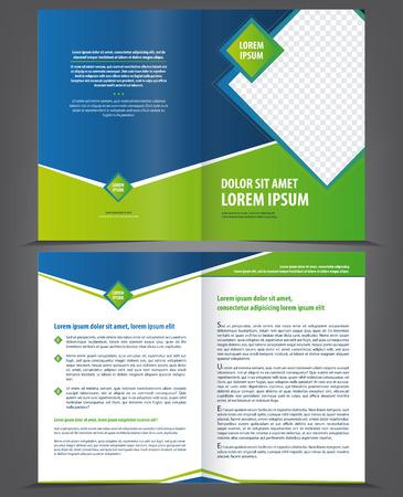 folleto: Dise�o del vector vac�o plantilla de folleto con elementos verdes y azules brillantes