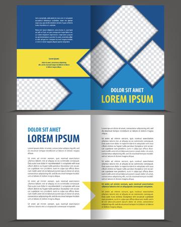 Vector empty bi-fold brochure print template design with blue and orange elements