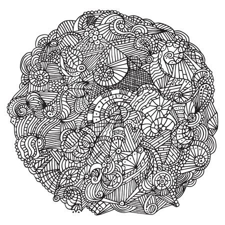 tehnology: Vector hand drawn black doodles circle pattern, sketch illustration