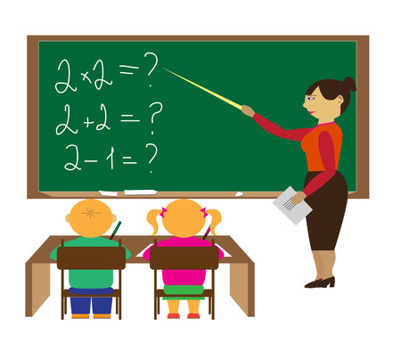 pupils: A teacher and two pupils in the classroom vector illustration