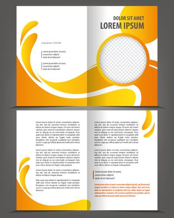 Vector design modèle brochure vide avec des éléments orange et jaune Banque d'images - 46566109