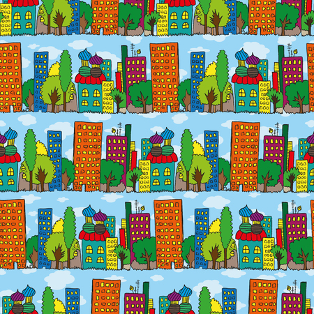 prospect: Vector fabric pattern, city houses seamless childs hand drawing illustration, town endless background. Skyscrapers and high-rises panorama, prospect Illustration