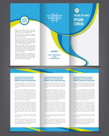 page design: Vector empty trifold brochure print template blue design