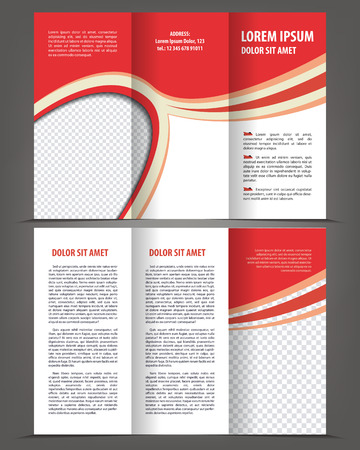 print template: Trifold beauty red brochure print template design