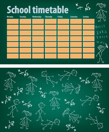 timetable: School timetable on blackboard front and back. Vector background Illustration