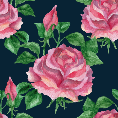 aquarelle: Vector seamless floral pink red rose pattern on dark background. Watercolor illustration with flowers, aquarelle