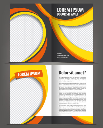 book pages: Vector empty bi-fold brochure print template design with yellow elements