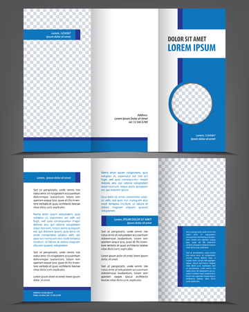 Vector empty trifold brochure print template design with blue elements Stock Vector - 46566302