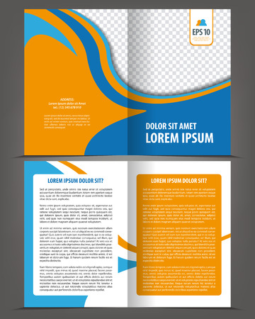 page design: Vector empty bifold brochure template design, print layout orange blue Illustration